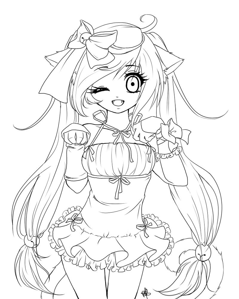 Anime cat girl coloring pages coloring home for Anime girl coloring pages