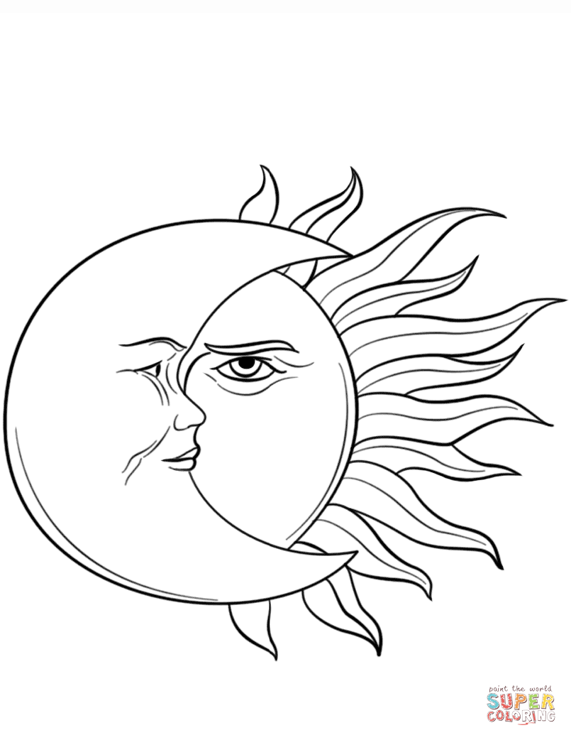 Sun and Moon coloring page | Free Printable Coloring Pages