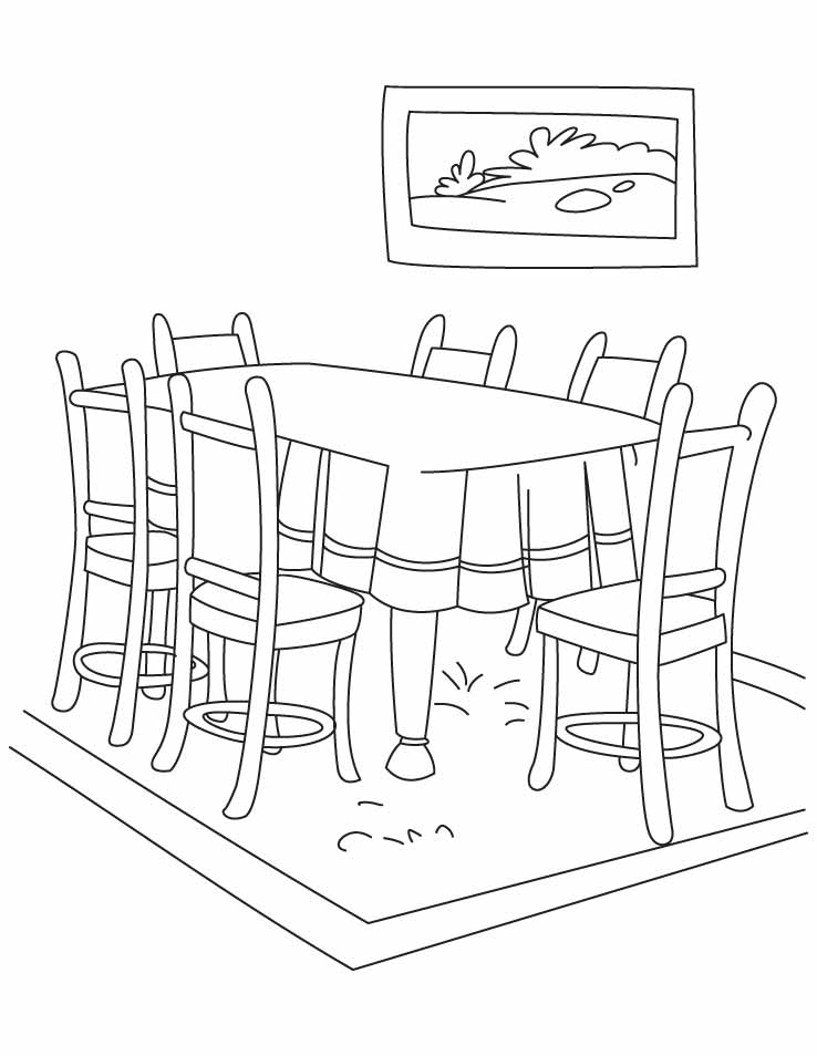 Dinning table coloring pages | Download Free Dinning table ...