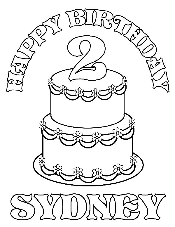 Number Two Birthday Candle Coloring Pages - NetArt