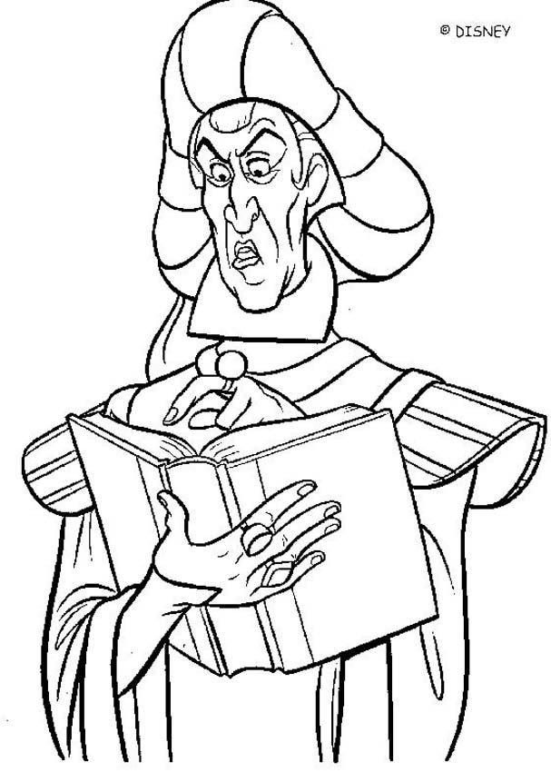 The hunchback of notre dame coloring pages frollo 3 - Coloriage esmeralda ...