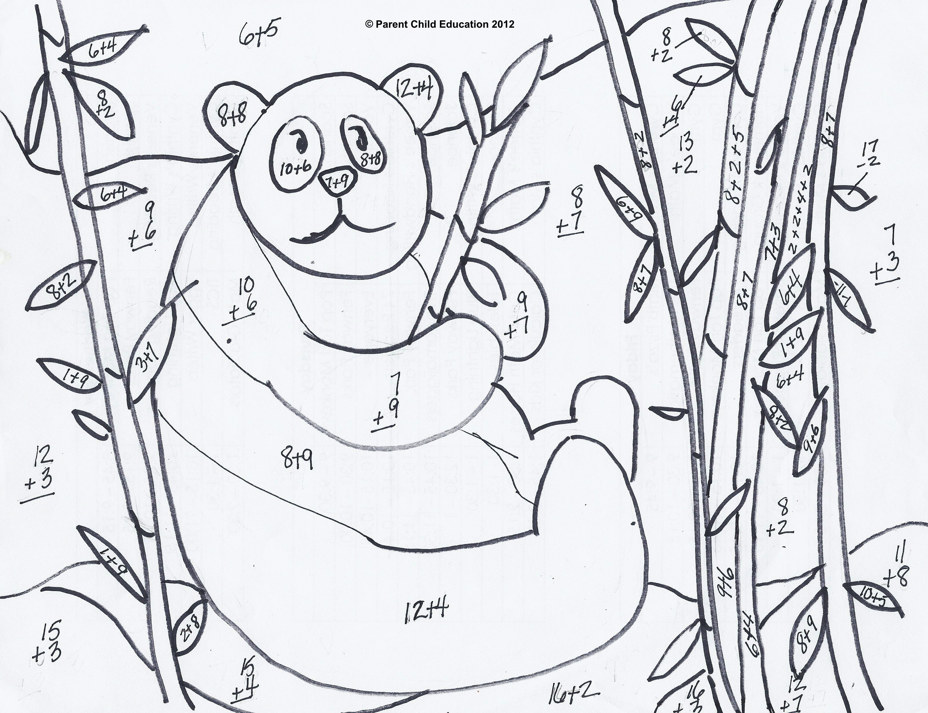 Addition and subtraction coloring worksheets for first for Worksheet coloring pages