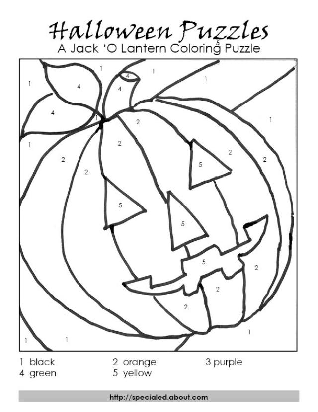 A Halloween Color By Number Puzzle Of Jack O Lantern