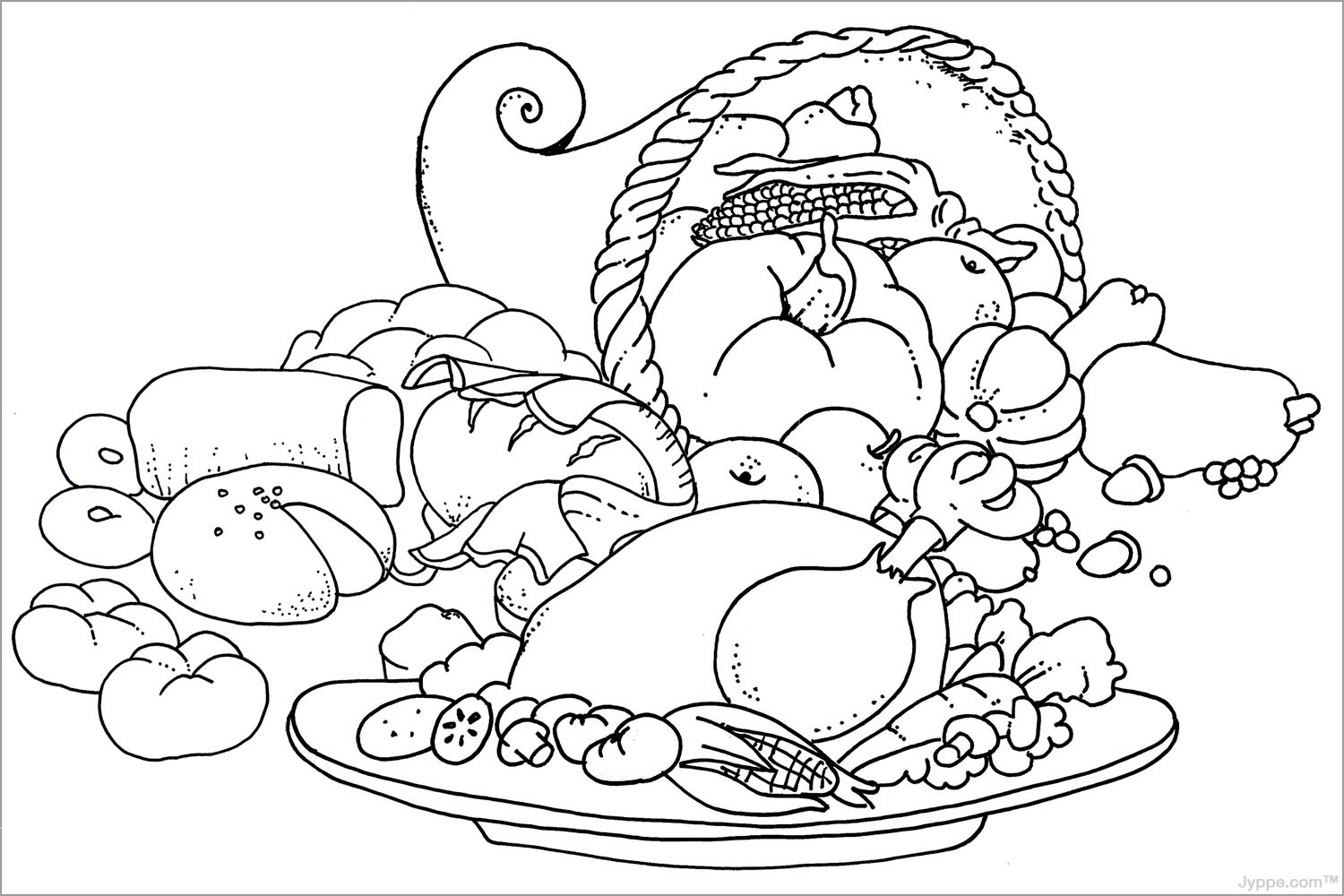 advanced coloring pages thanksgiving food - photo#29
