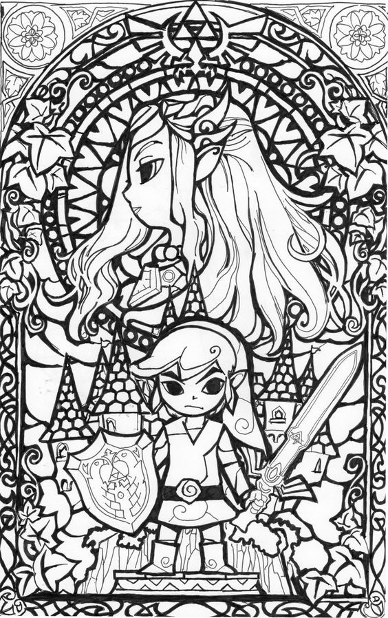 awesome stained glass Zelda coloring page! Gonna try this in ...