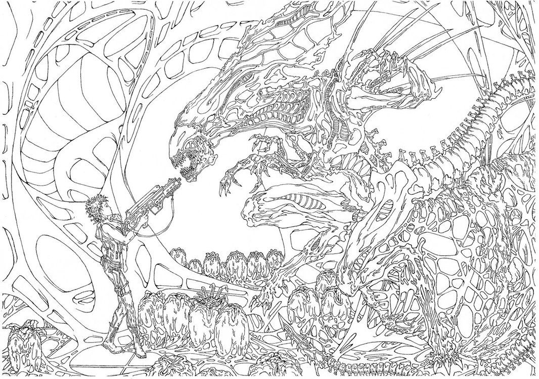 Avp Alien Vs Predator 2 Coloring Pages Coloring Pages For All