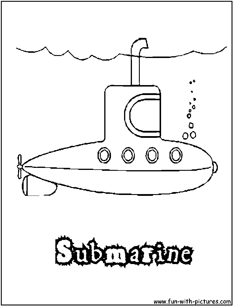 yellow submarine coloring page - coloring home - Submarine Coloring Pages Print
