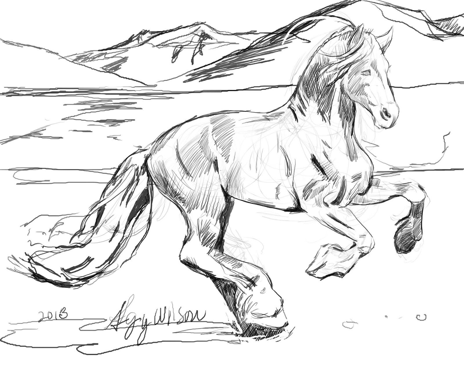 Free coloring page horse