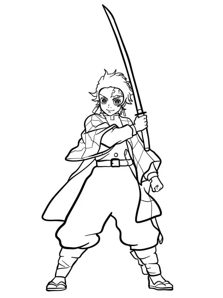 Tanjiro Kamado Demon Slayer Coloring Page - Free Printable Coloring Pages  for Kids