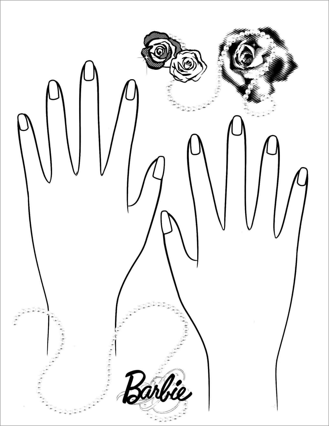 Barbie Nail Coloring Page - ColoringBay