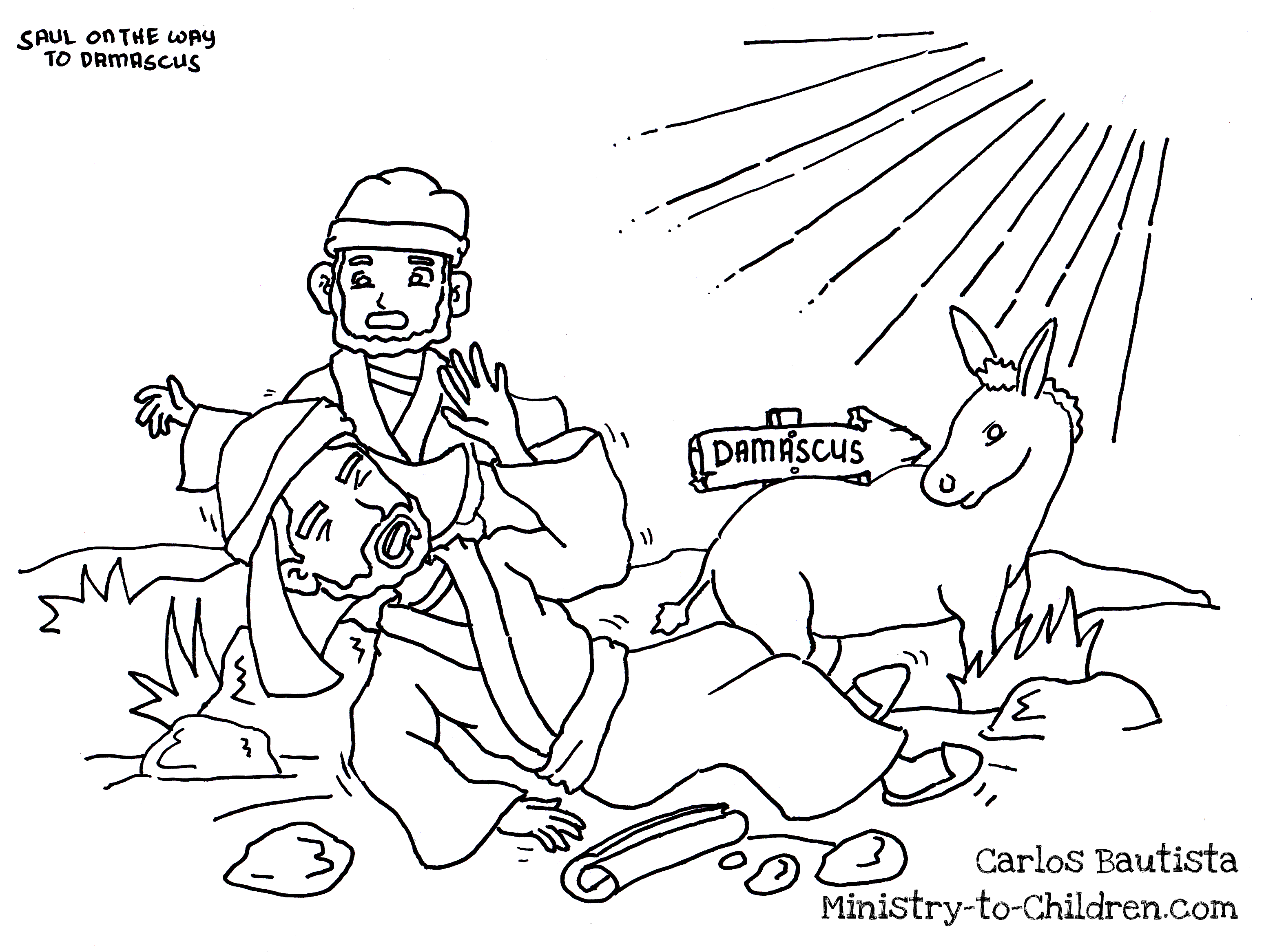 Childrens coloring sheet of saul and ananias - Ananias And Saul Coloring Pages Coloring Pages For All Ages