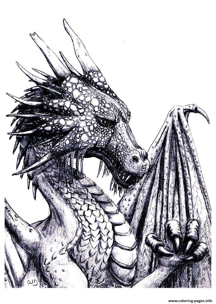 Print Adult Dragon Coloring Pages