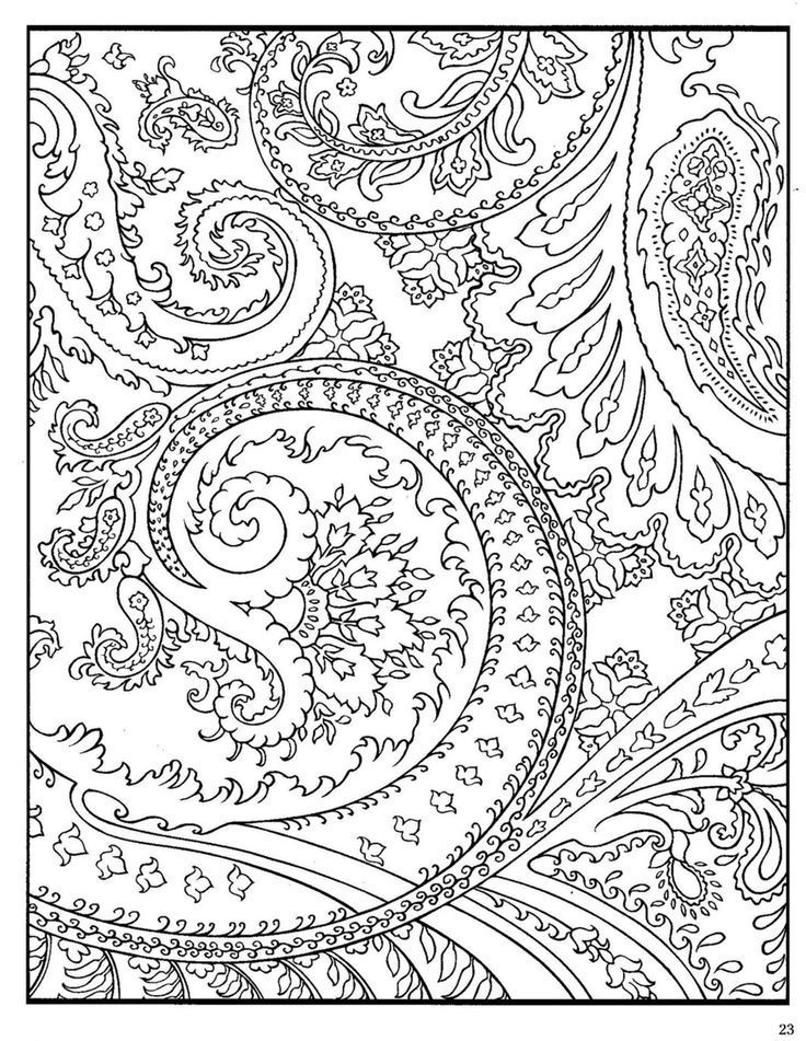 Coloring Pages Of Animals With Designs : Adult coloring pages paisley home