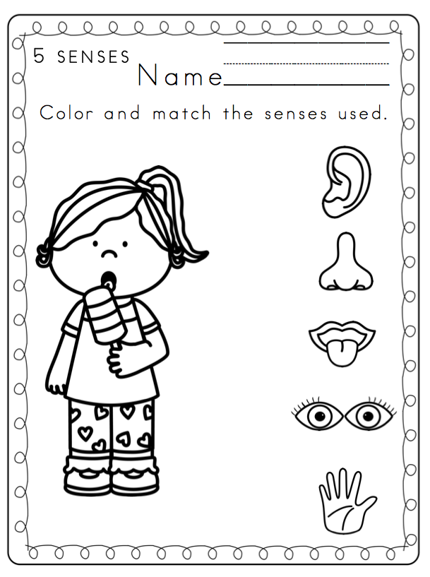 Preschool Printables: Toddler 5 Senses Printable Coloring Page