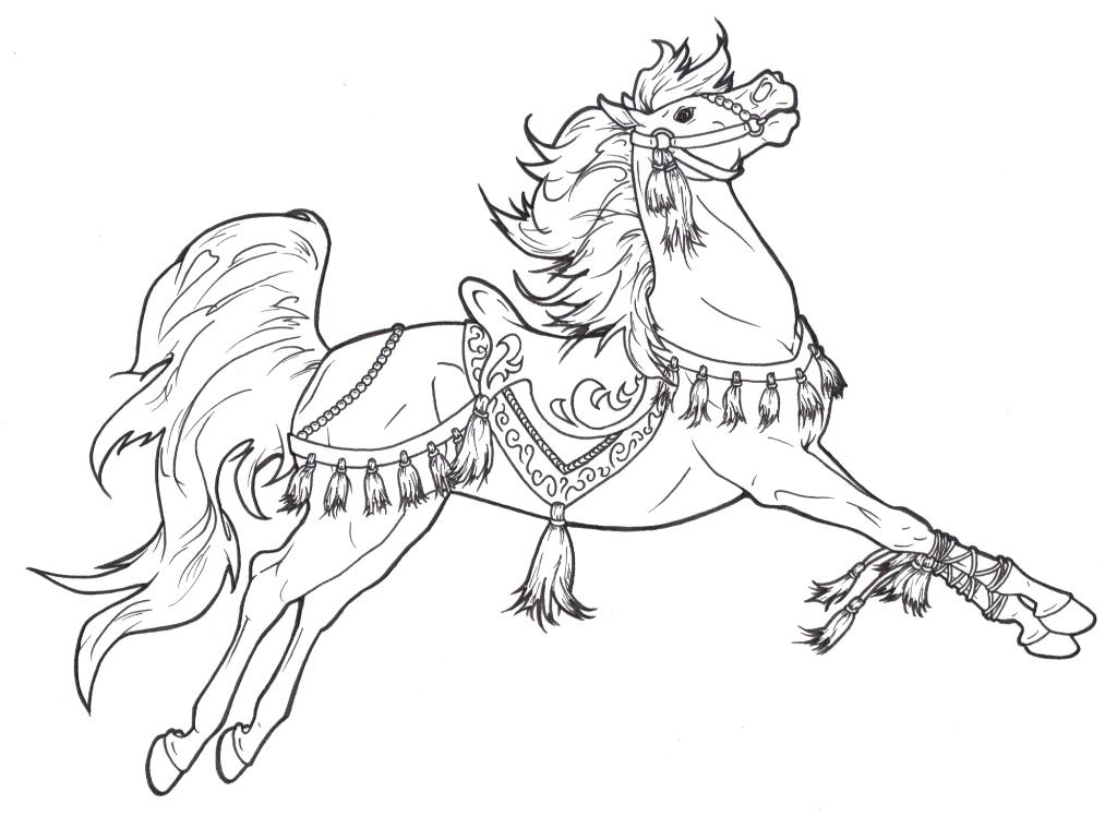 Cinderella And Horse Coloring Page