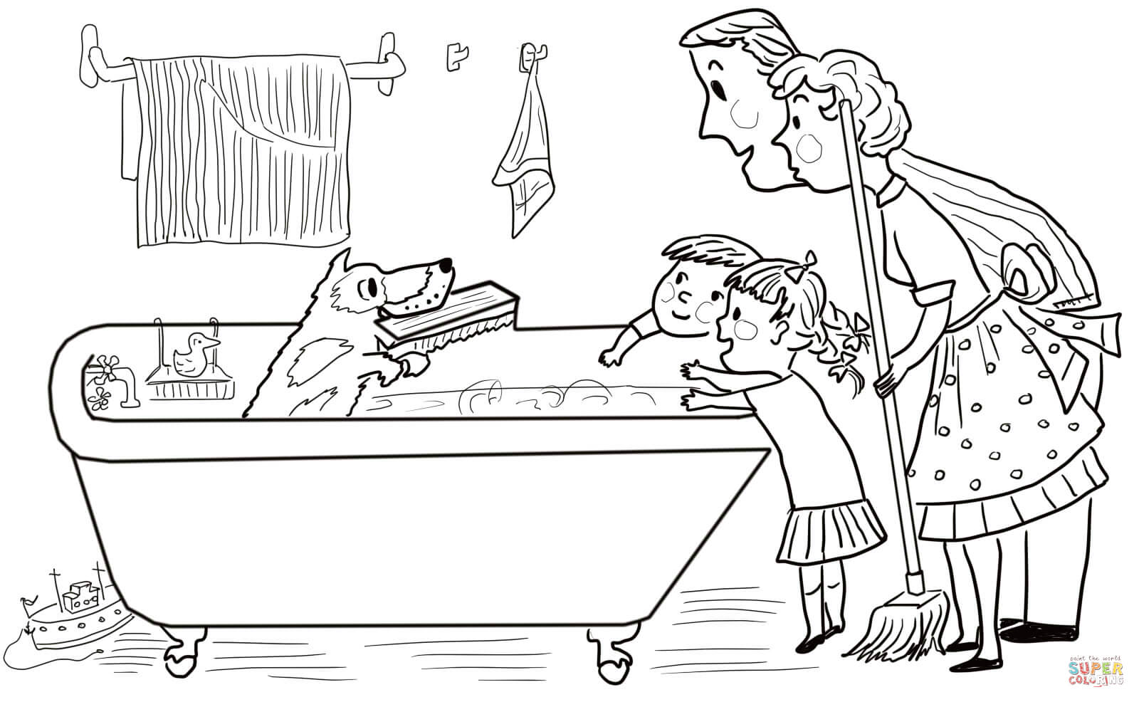 Harry the dirty dog in the bathtub getting cleaned for Harry the dirty dog coloring page