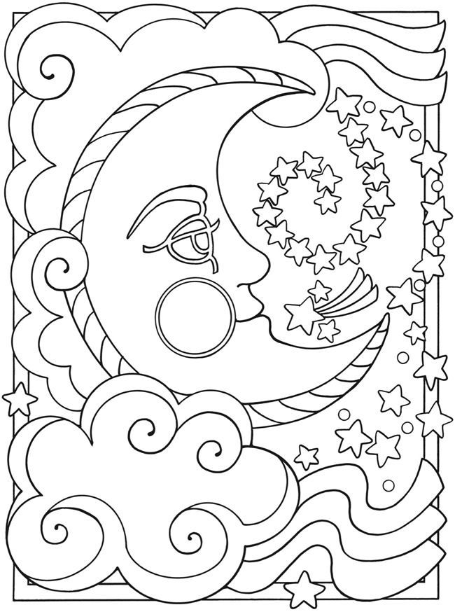 free coloring pages moon and stars | Moon And Stars Coloring Pages Printable - Coloring Home