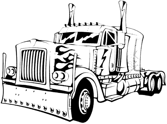 semi coloring trucks pages - photo#20