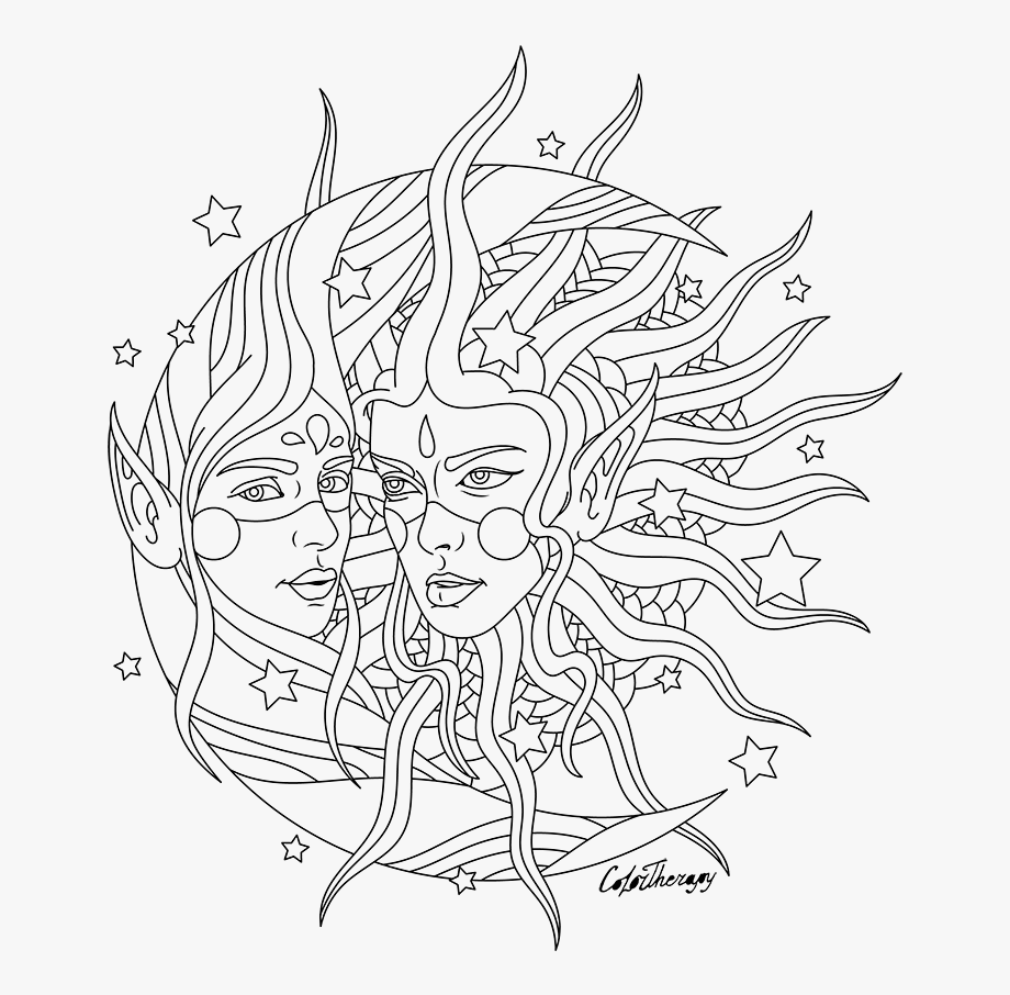 Hippies Clipart Moon - Coloring Pages For Adults Of Sun And Moon ...