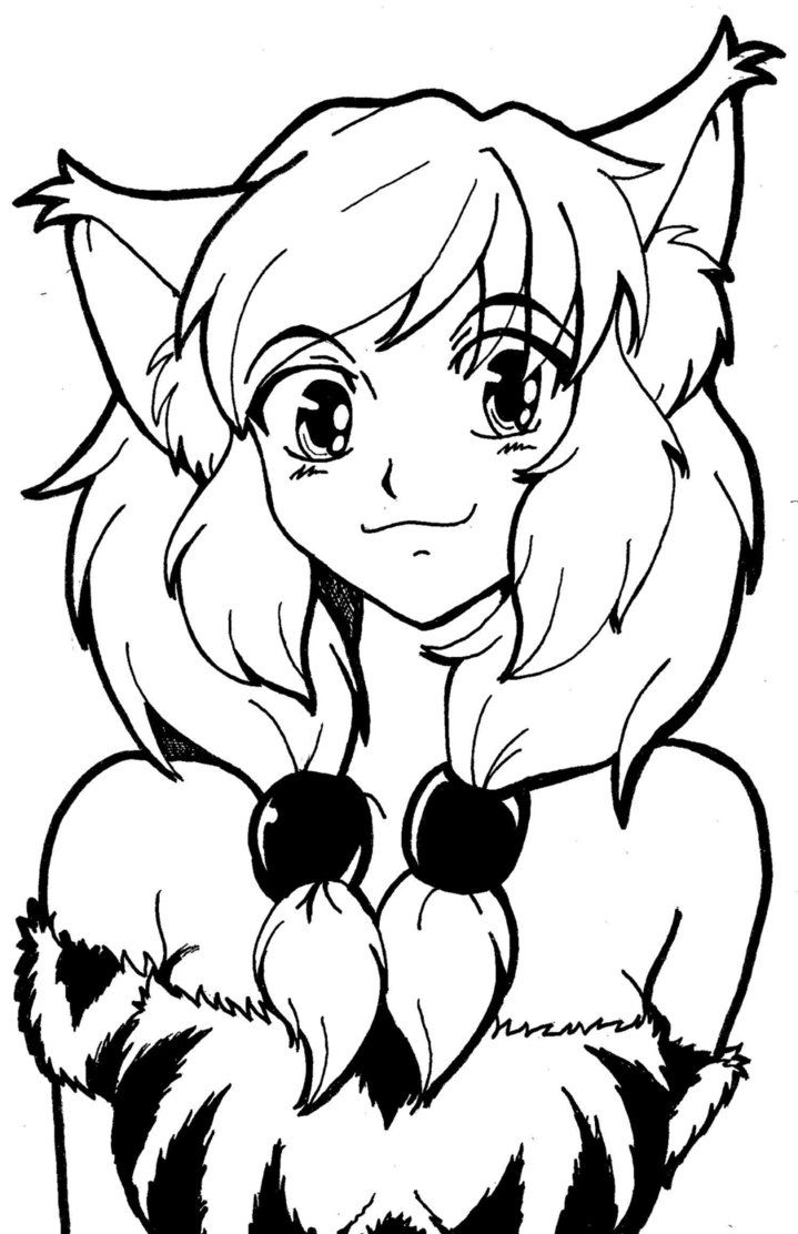 anime girl cat coloring pages - photo#6