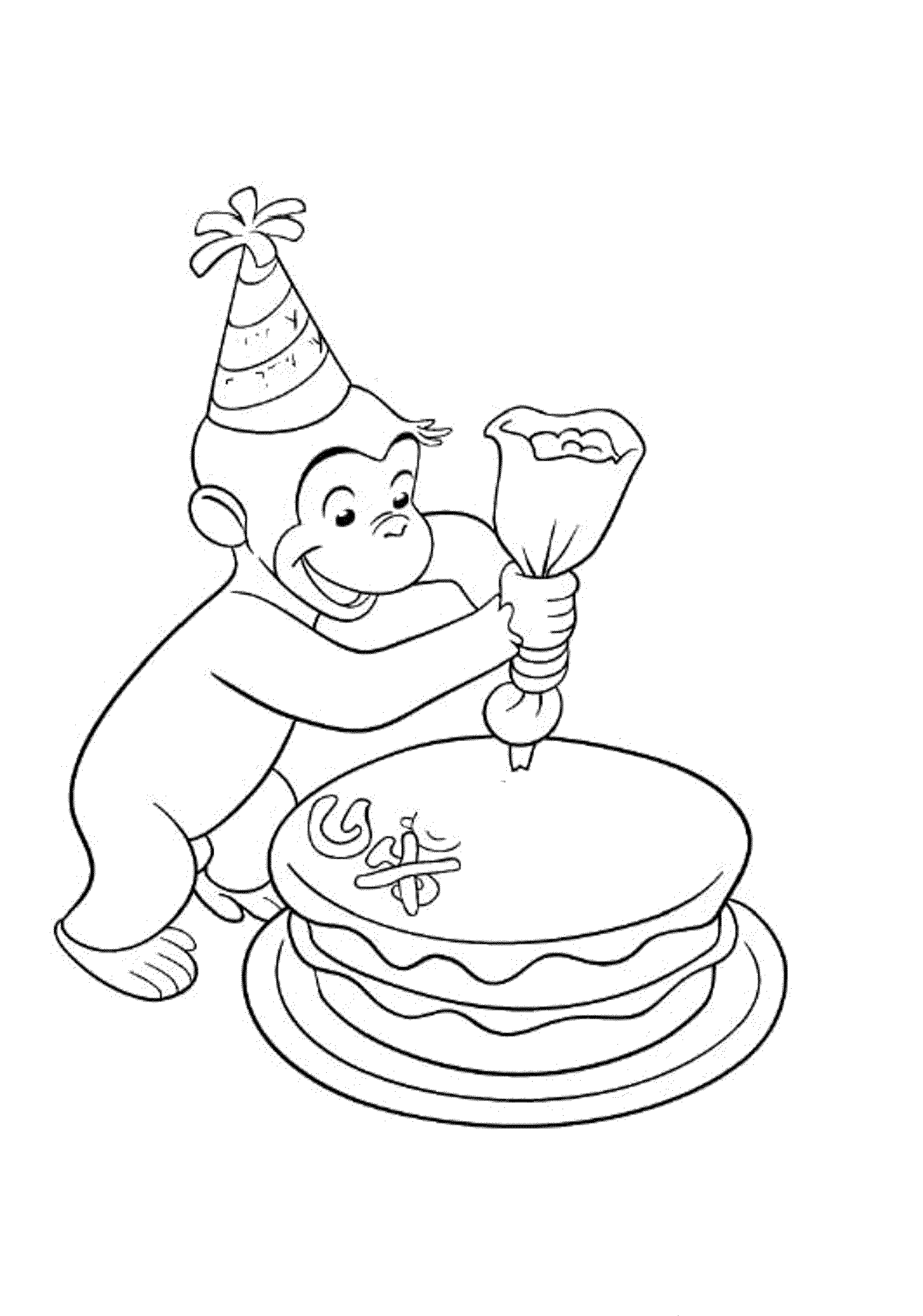 Happy Birthday Curious George Coloring Pages - Printable ...