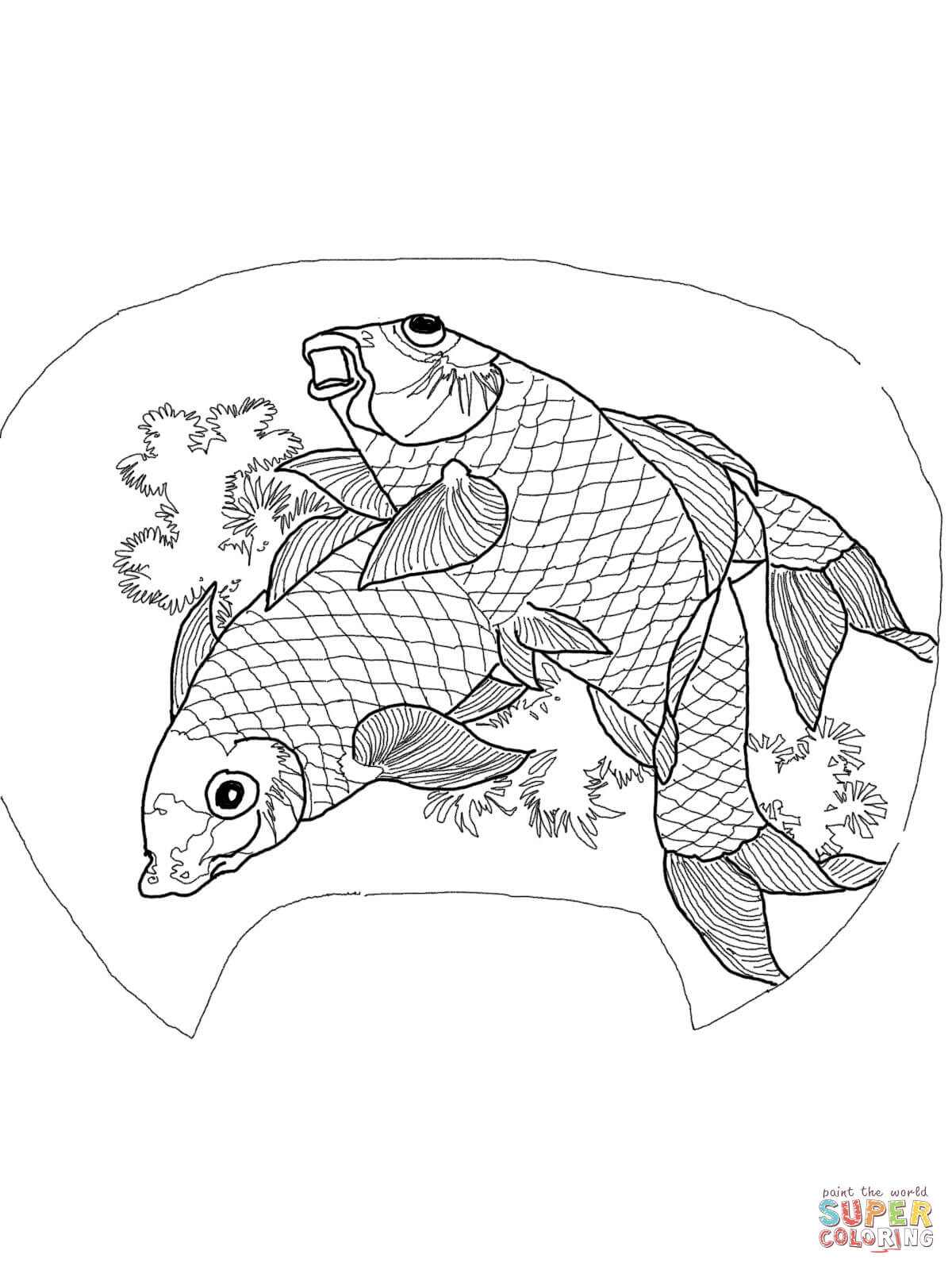 Japanese Koi Coloring Pages Coloring
