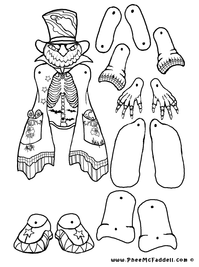Pumpkin Head Puppet Coloring Page - Coloring Home