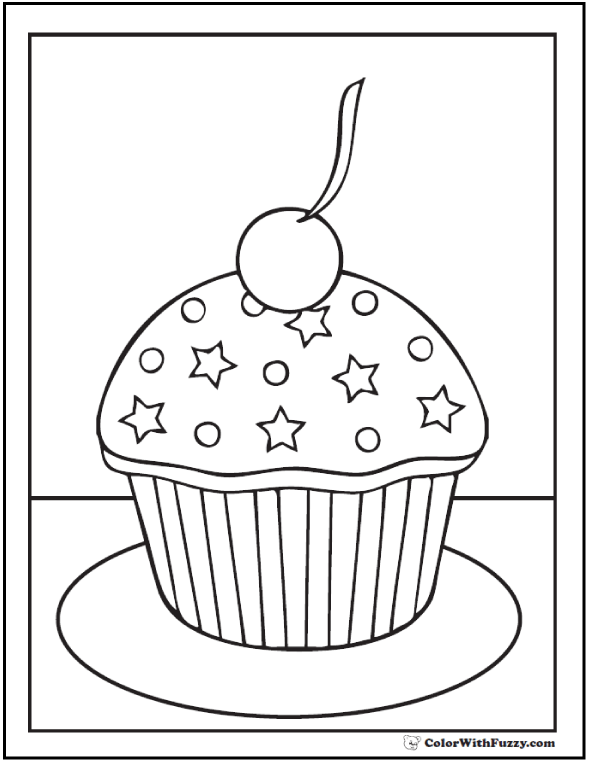 Cupcake Pictures To Color : Free Cupcake Coloring Pages - AZ Coloring Pages