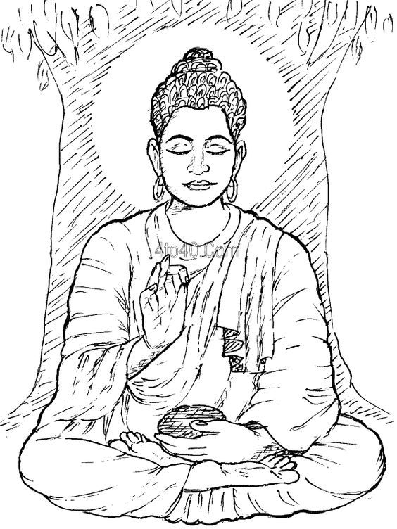 Buddha Coloring Page - Coloring Home