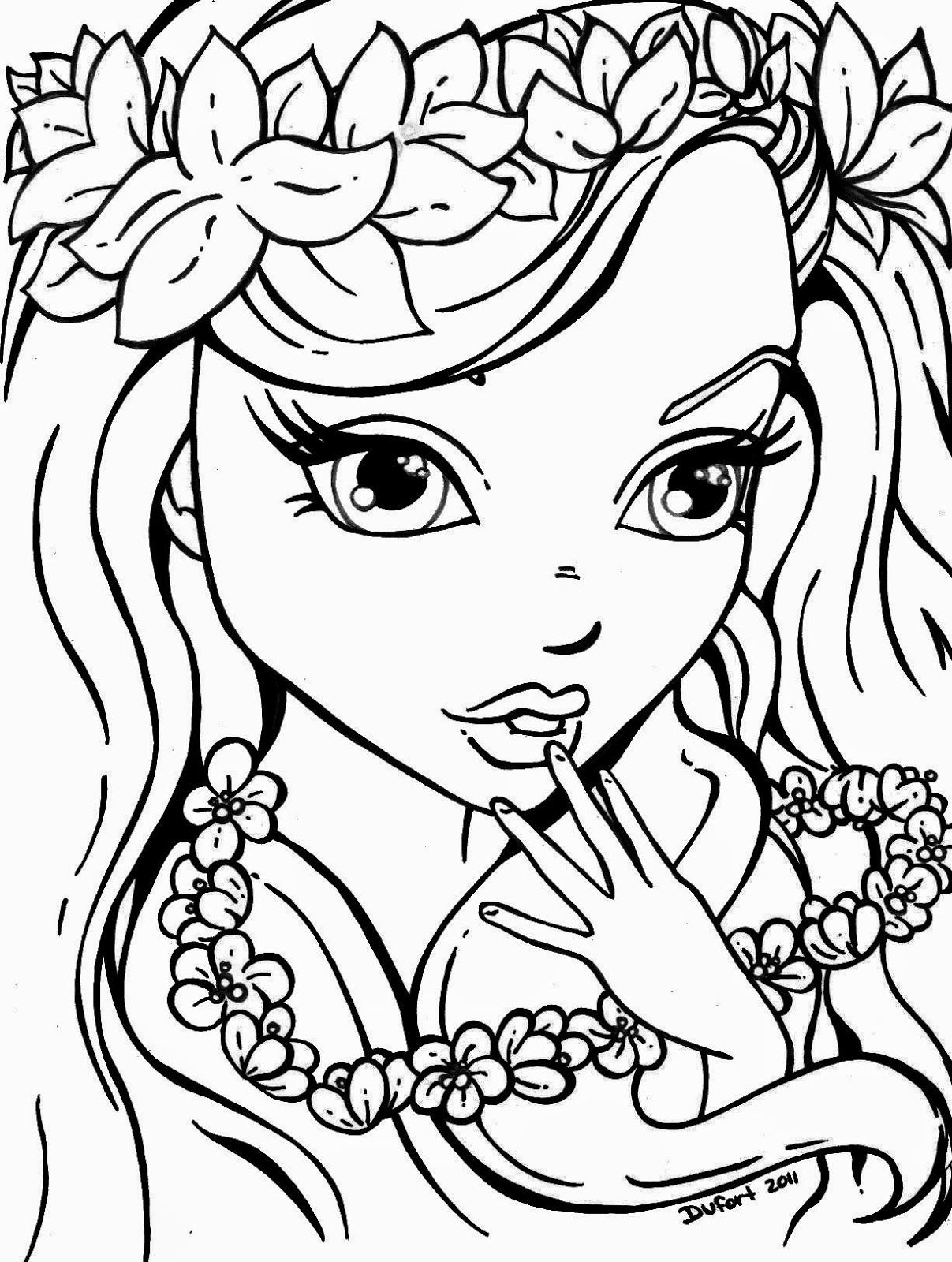 Manga Girl Coloring Pages Girl Face Coloring Page Sketch Template ...