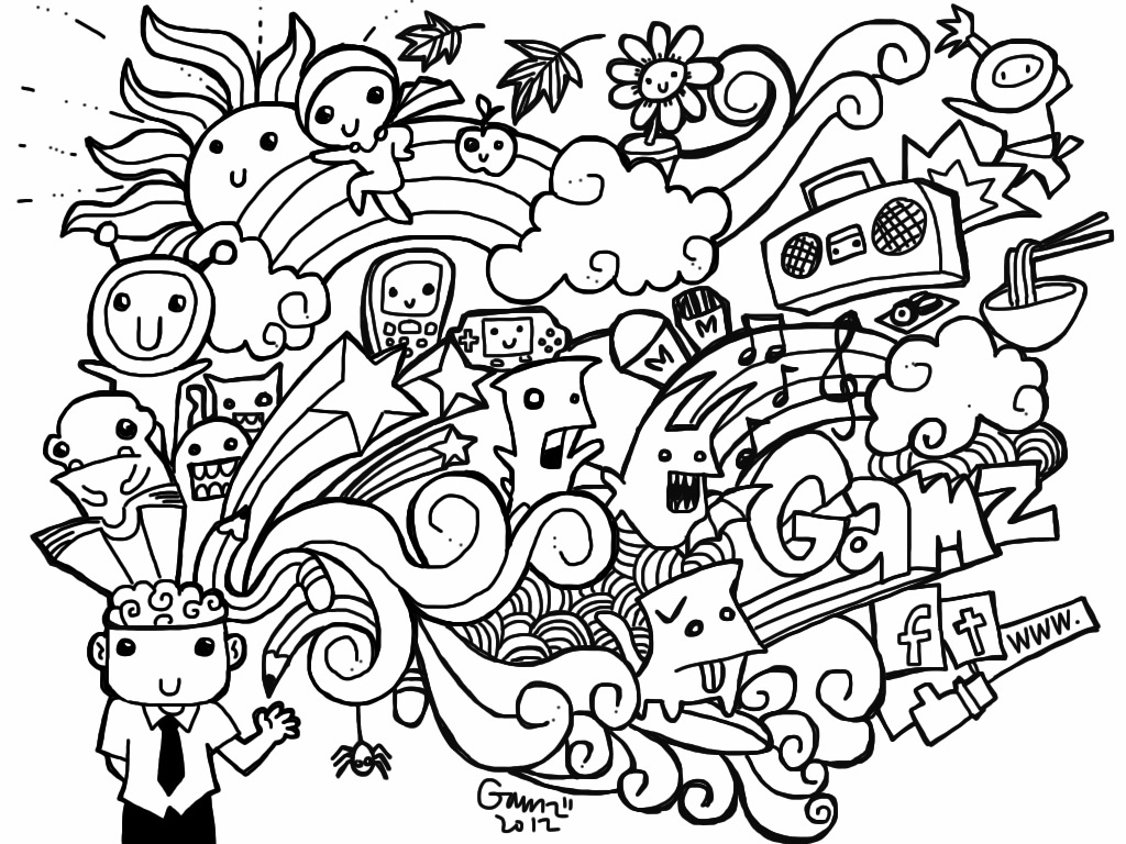 Free Doodle Art Coloring Pages Home