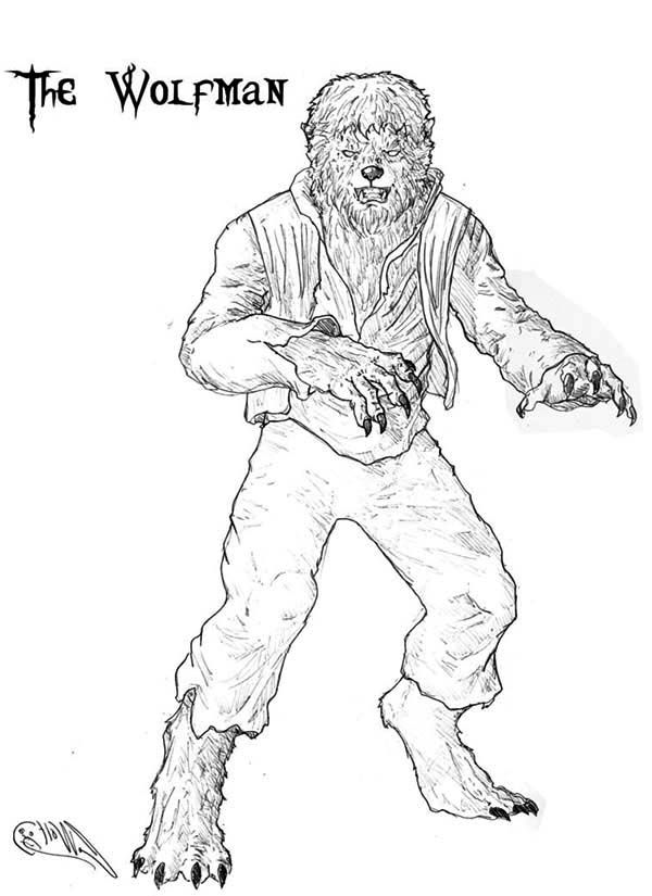 Werewolf Coloring Page Coloring Home Wolfman Coloring Pages