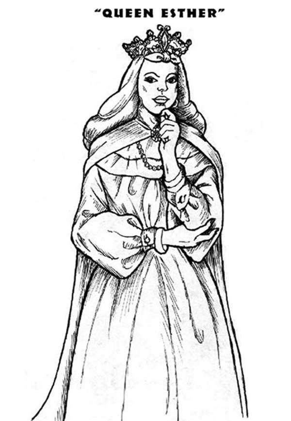 Princess Esther Coloring Pages : Queen esther the bible heroes coloring page
