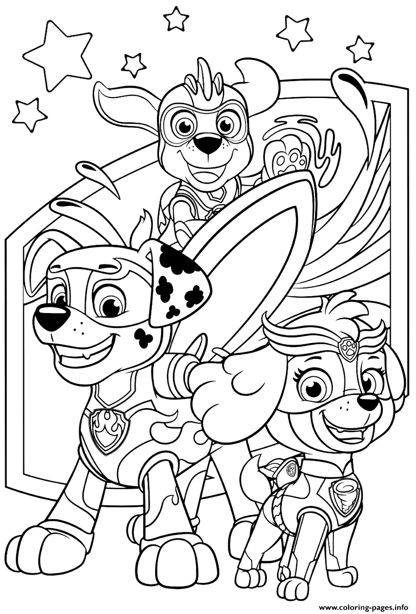 PAW Patrol: Mighty Pups Coloring Pages - Coloring Home