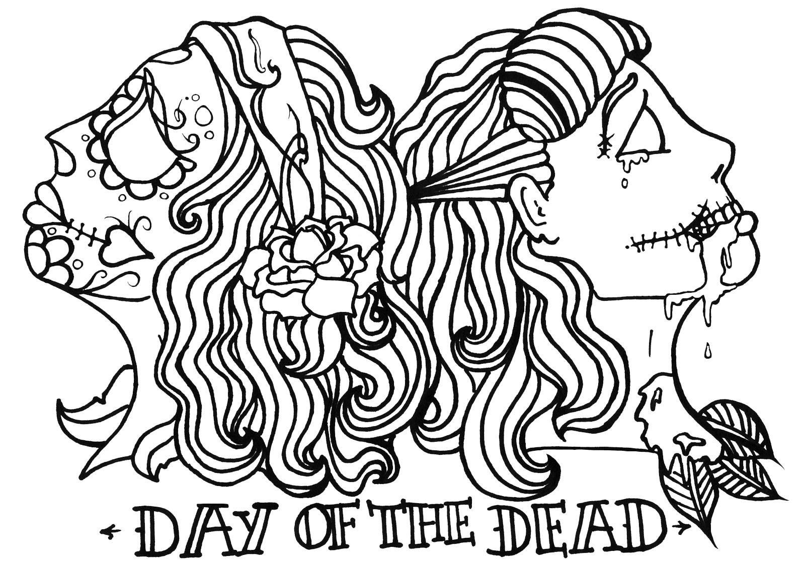 Skull coloring pages day of the dead coloring home for Day of the dead color pages