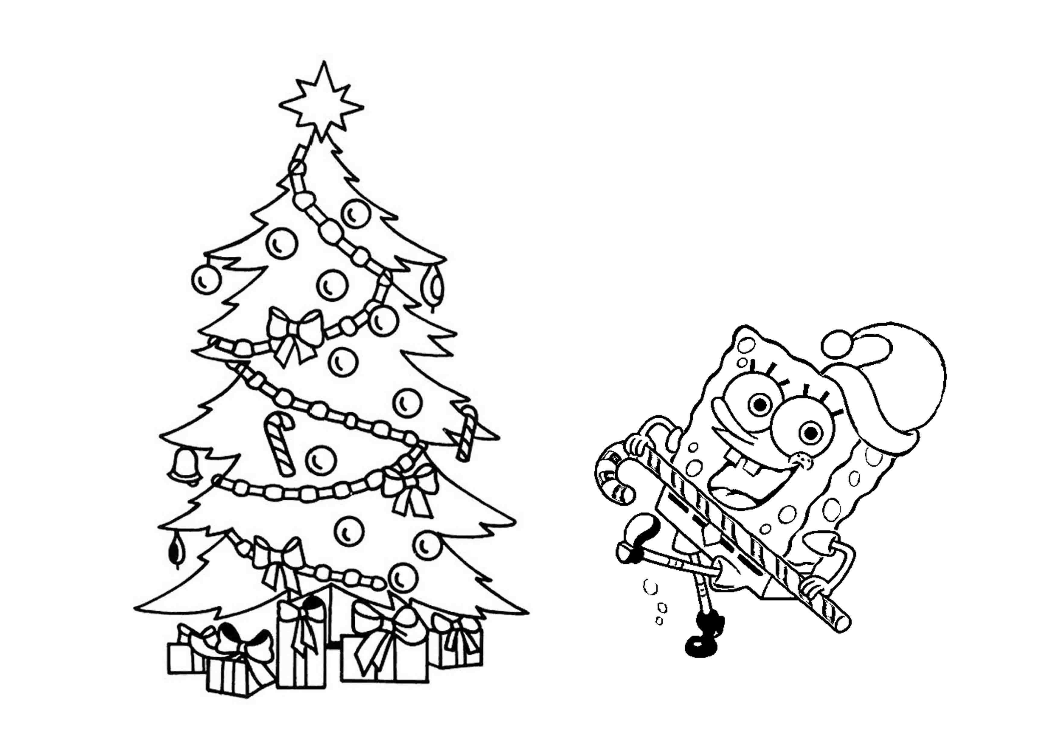Spongebob Christmas Coloring Page