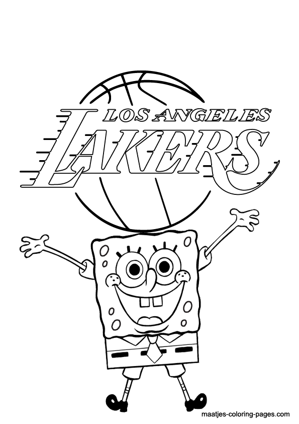 la lakers and spongebob coloring page