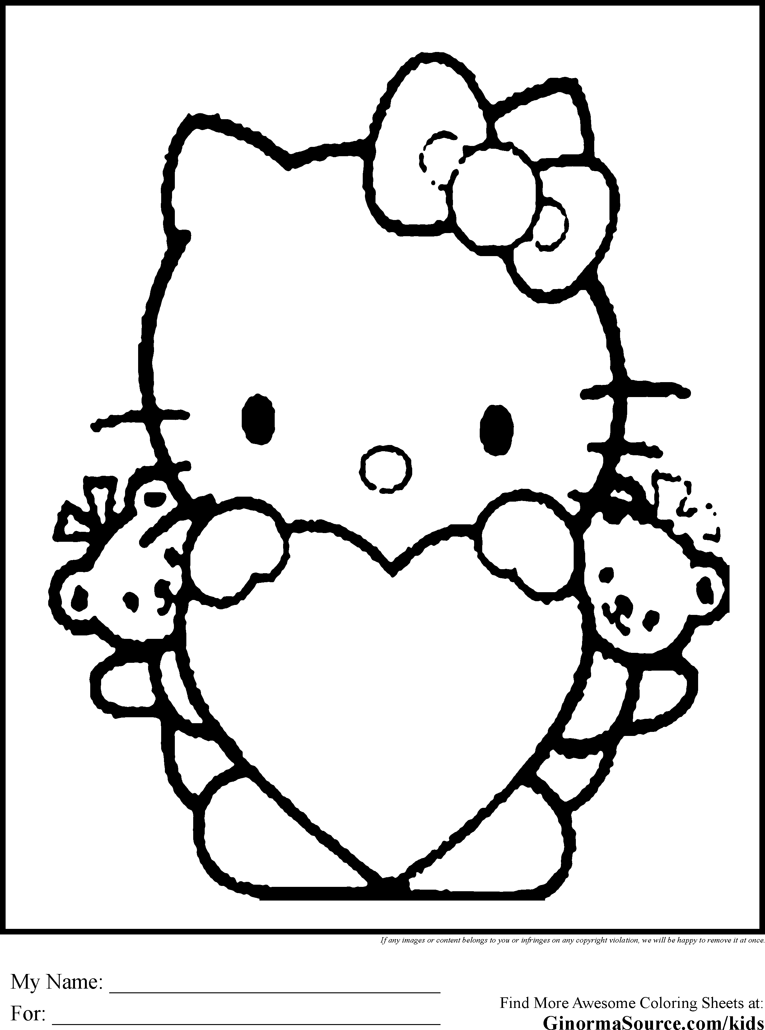 Hello Kitty Valentine Coloring Pages | Forcoloringpages.com