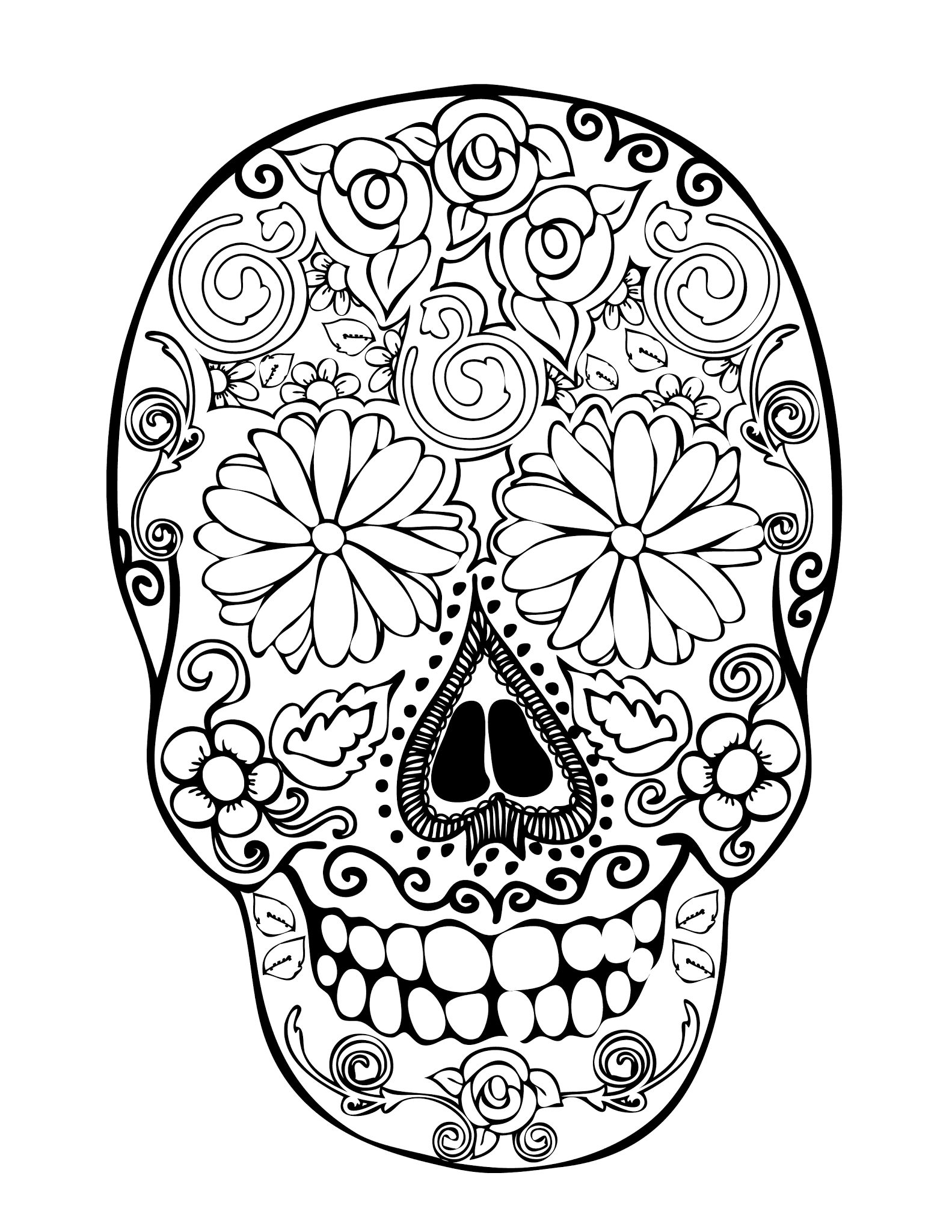 Printable Skull Adult Coloring Pages Coloring Home