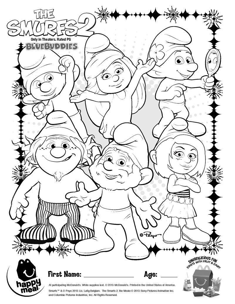 Smurfs - Coloring Pages for Kids and for Adults