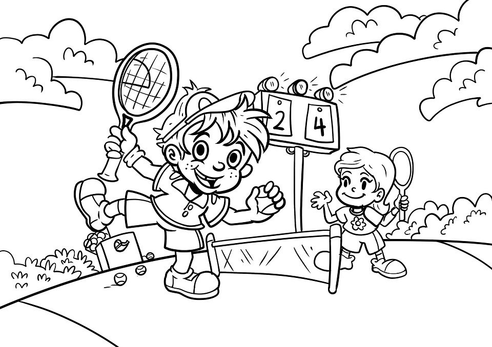 Free photo Drawing Children Tennis Coloring Pages Sport - Max Pixel