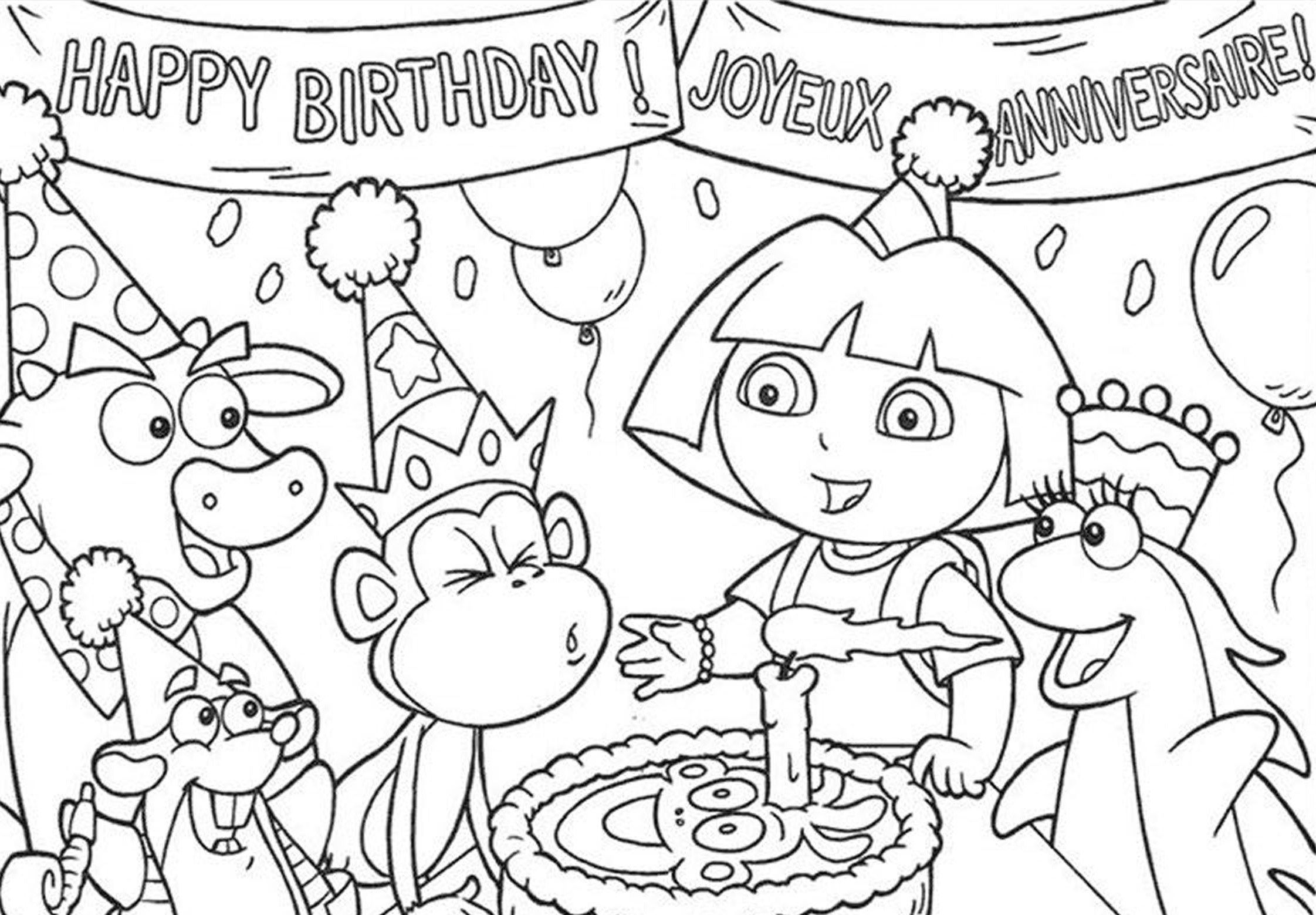 Princess coloring pages birthday - Coloring Book Pages Birthday Simple Dora Princess Coloring Pages With Dora Coloring Pages On