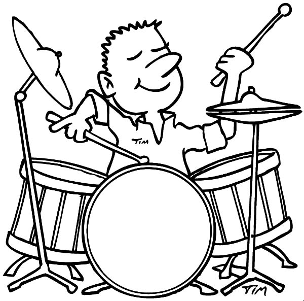drummer boy enjoys playing drums coloring pages