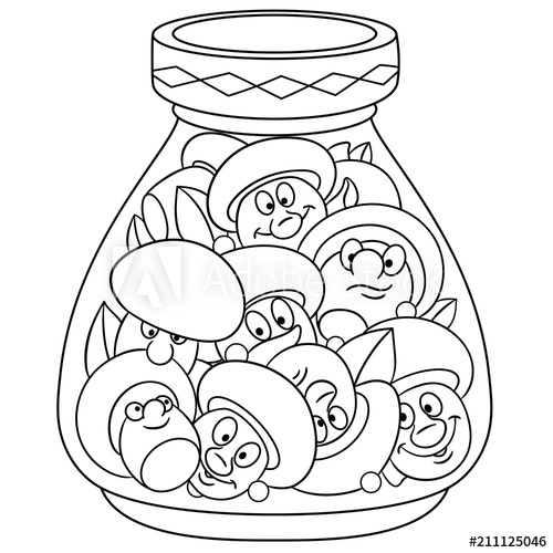 Coloring Page. Coloring Book. Pickles Jar. Pickled ...