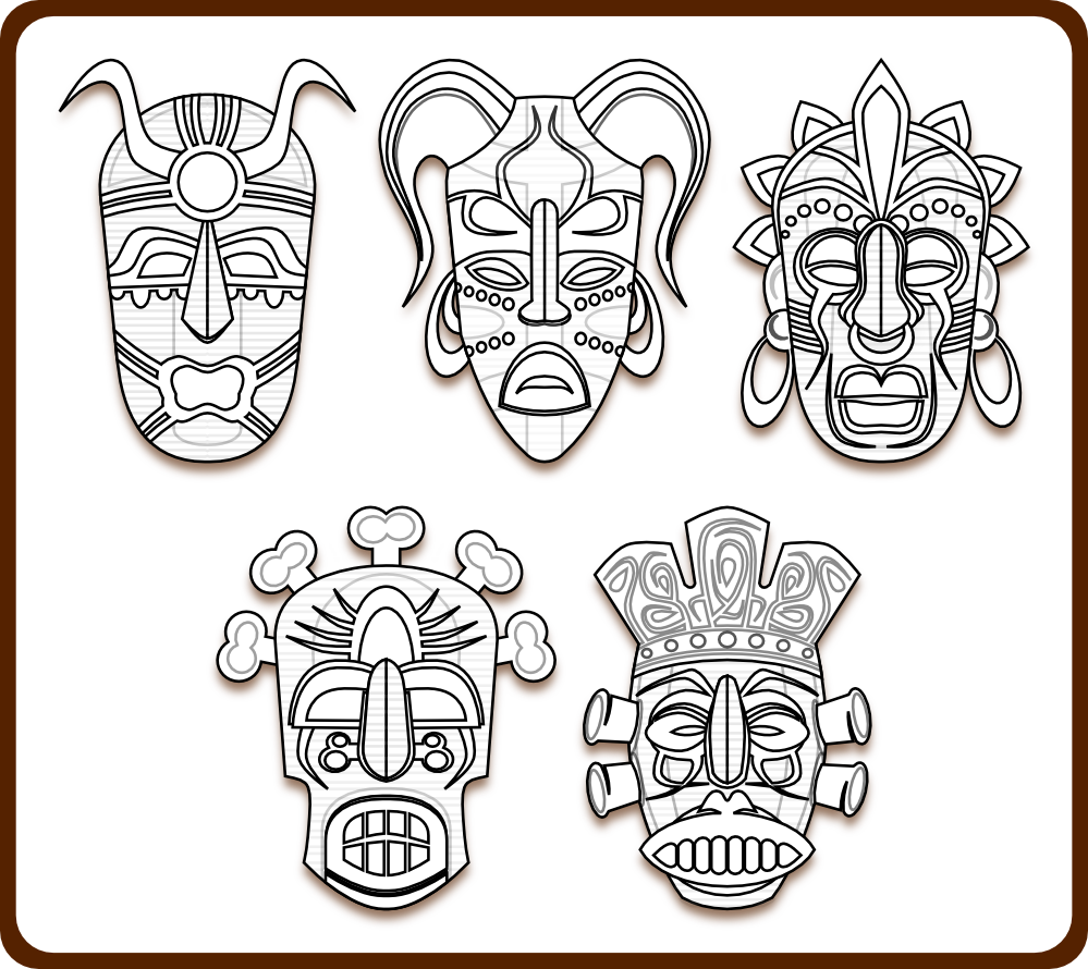 African Tribal Masks Coloring Sheets - High Quality Coloring Pages