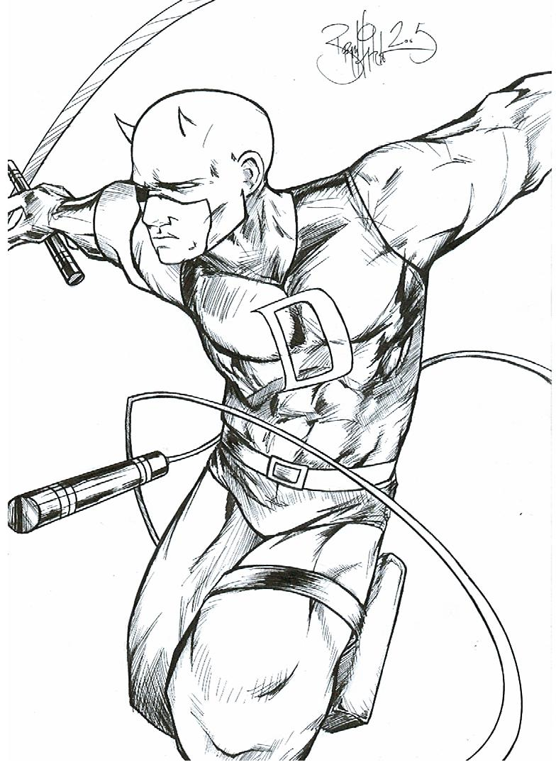 Daredevil Coloring Pages Page 1 · Daredevil: The Man Without Fear :: Fan Art :: BryanHitchen2
