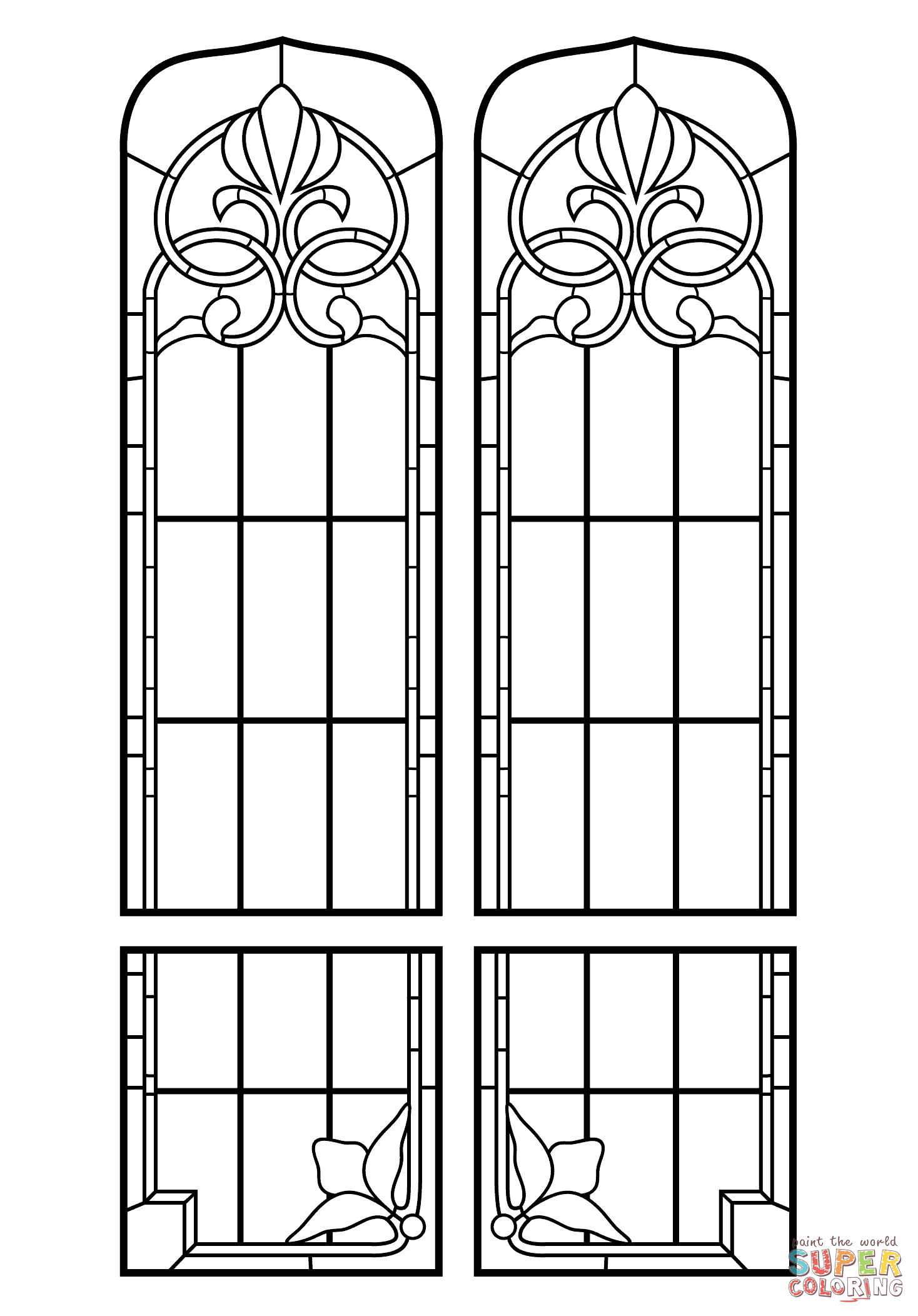 Church window coloring pages coloring home Coloring book for windows 7