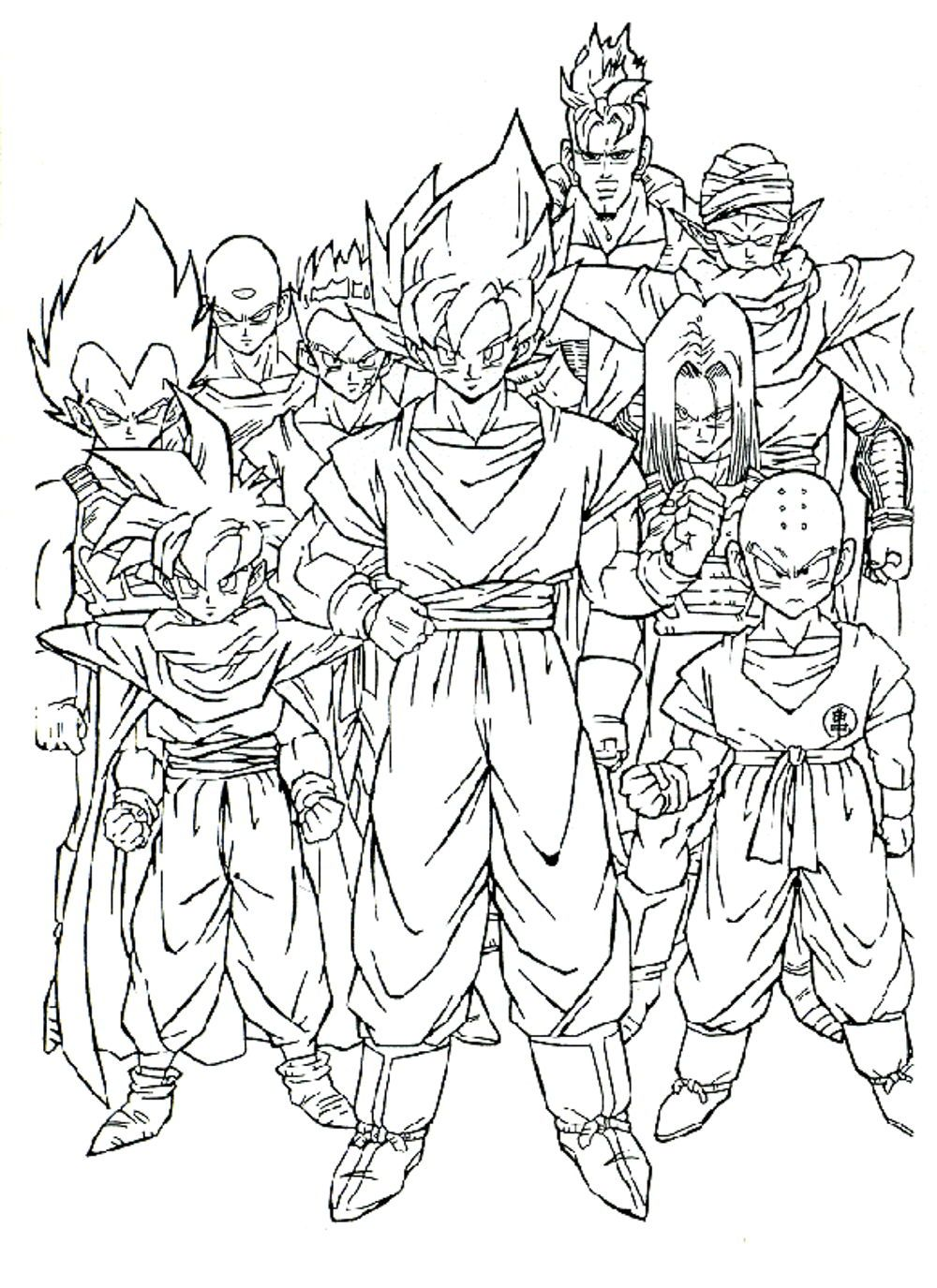 Z coloring pages printable - Dragon Ball Z Coloring Page Printable Kids Colouring Pages
