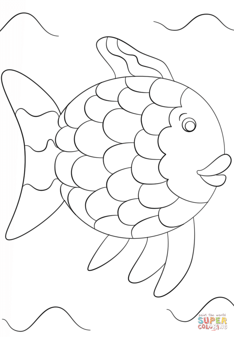 photo regarding Rainbow Template Printable titled Rainbow Fish Template Coloring Webpage No cost Printable