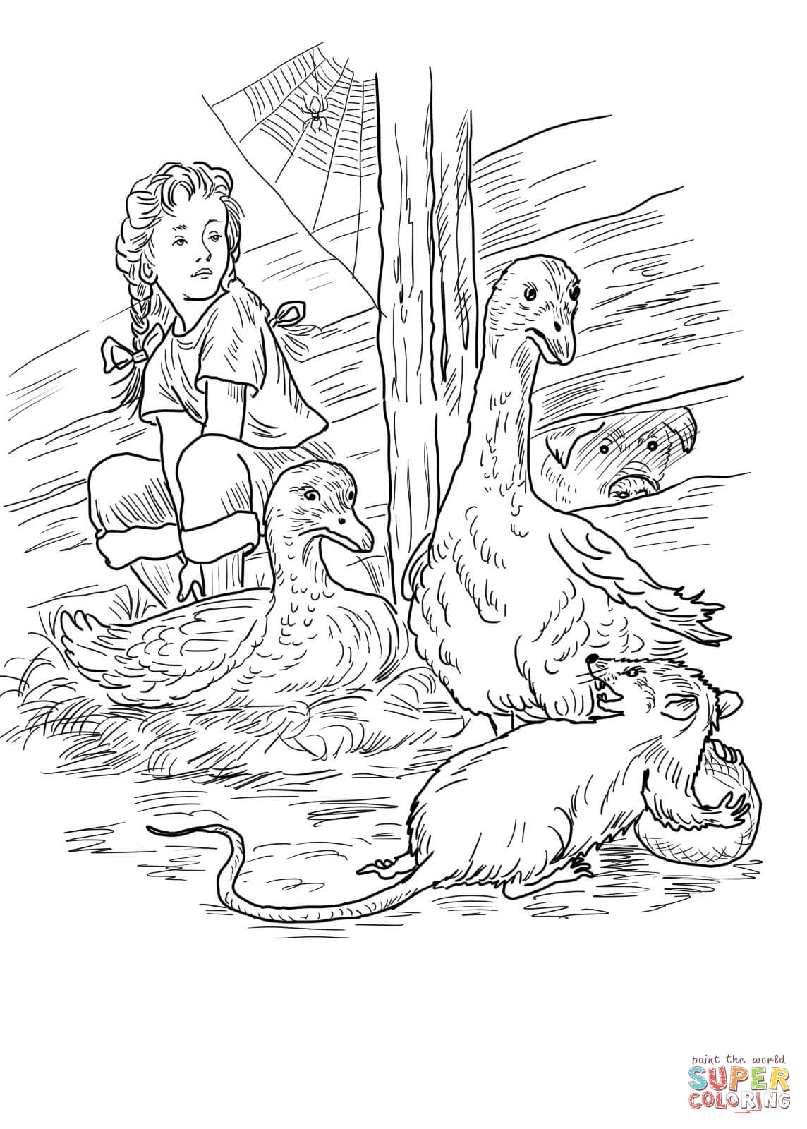 Charlotte Fern Gooses Templeton And Wilbur Coloring Page Free